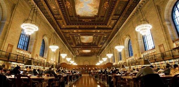Main reading room of New York Public Library after NYPL announced partnership with Google.