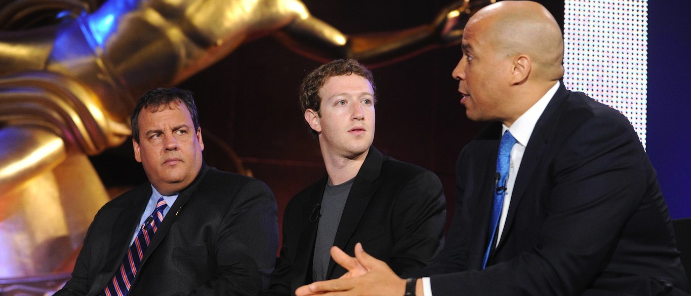 L-R: NJ Gov. Chris Christie, Mark Zuckerberg, Gay (probably) Mulattoe Newark Mayor Cory Booker