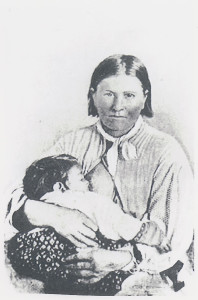 Cynthia Ann Parker and daughter Prairie Flower soon after her recapture at the Pease River in Texas