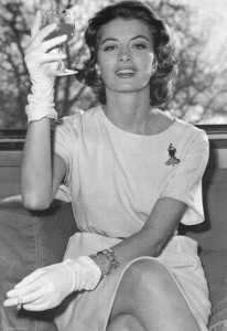 Capucine, smoking