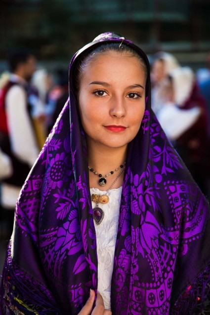 Johara in traditional Sardinian garb.