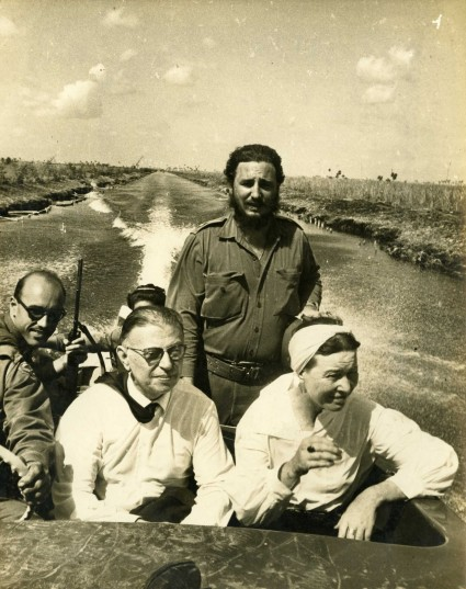 Fidel Castro, Jean Paul Sartre and Simone de Beauvoir with Celia Sanchez and Juan Arcocha