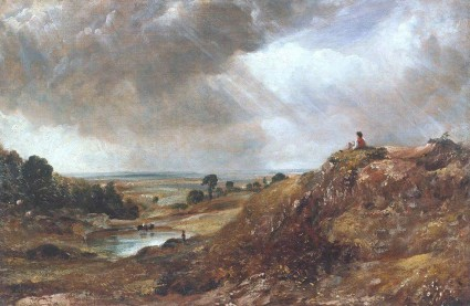 Constable, John; Branch Hill Pond, Hampstead Heath, with a Boy Sitting on a Bank