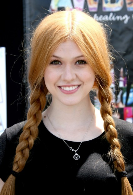 21 year-old Katherine McNamara in adorable pig tails.