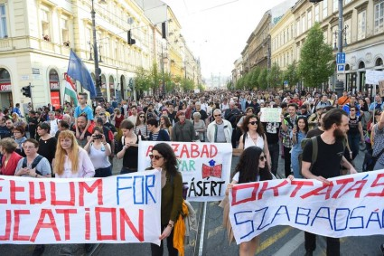 """A well-funded protest rally organized by the """"Freedom for Education"""" movement in Budapest on April 2"""