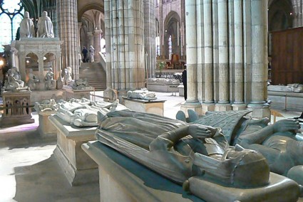 A view of the tombs in the Basilica of St. Denis, Paris, in which all but three of the Kings of France, from Clovis I (d. 511) to Louis XVIII (d. 1824) are buried.