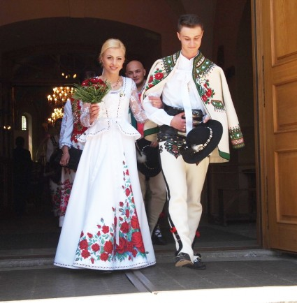 Hand-painted wedding garb from Poland.