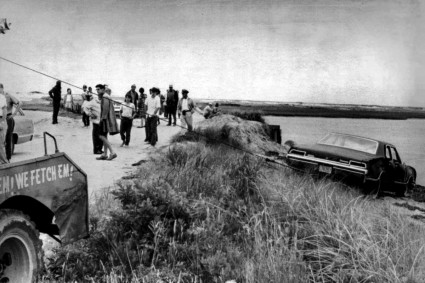 July 19, 1969 photo shows U.S. Sen. Edward Kennedy's car being pulled from the water next to the Dike Bridge on Chappaquiddick Island in Edgartown, Mass. on Martha's Vineyard.