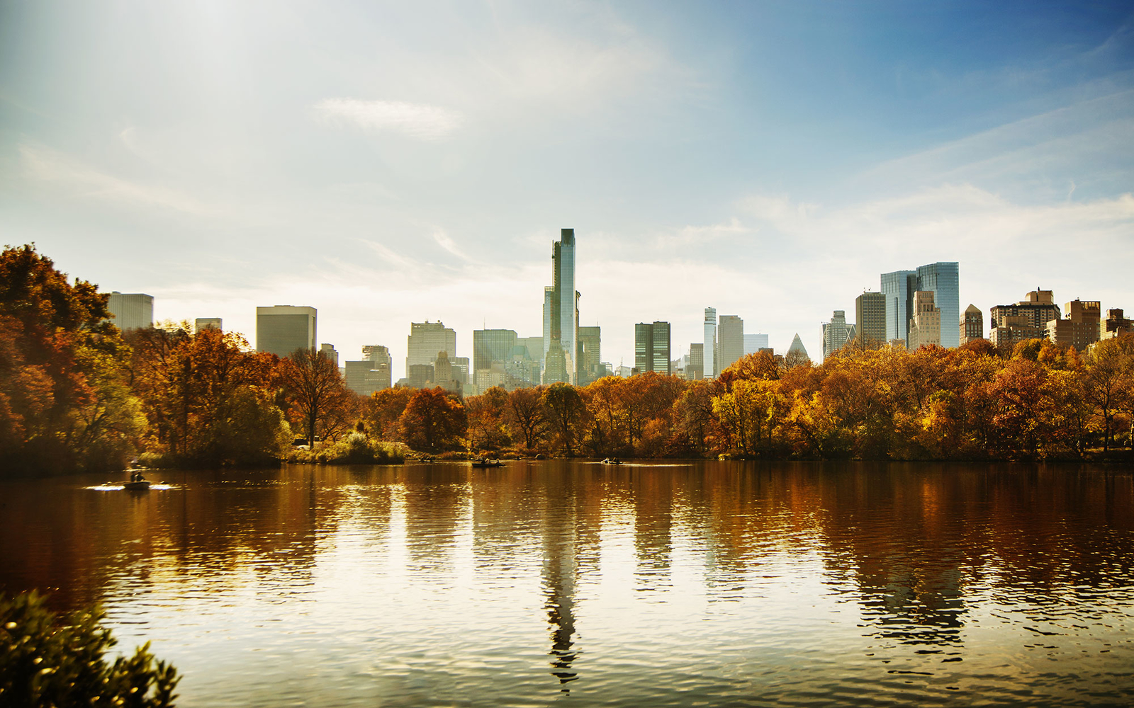 Central Park in the fall with skyscrapers