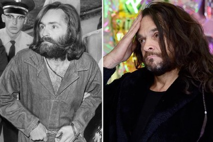 L: Charles Manson; R: his biological son who found who his father was around age 25.